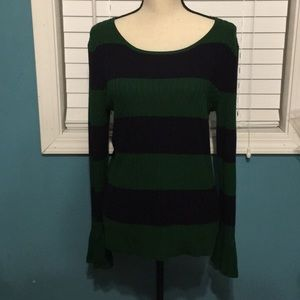 Cable & Gauge Green & Blue sweater Sz Large